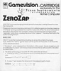 Gamevision Zero Zap Manual
